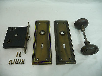 Antique Craftsman Style Complete Door Lockset - C. 1915 Architectural Salvage