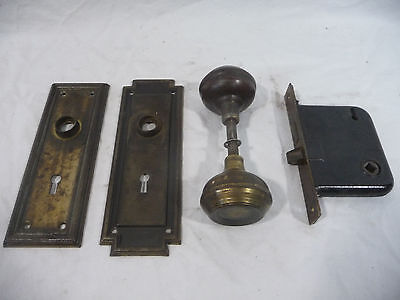 Antique Craftsman Style Door Knob, Plates and Lockset - Architectural Salvage