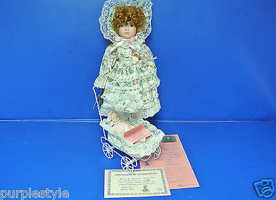 """1989 Porcelain Little Girl Doll / Baby Doll & Carriage By Marian Yu Design 16"""""""