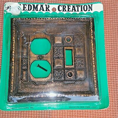 Edmar Creation Mid-Century Double Switch Plate Switch/Outlet Faux Carved Wood