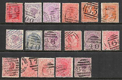 Victoria used lot of 17 numbered cancels - D