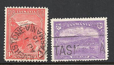 Tasmania #103 & 104 used - watermarked crown & double-lined A