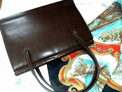 Vintage 1950/60s Brown Leather? Satin Lined Kelly Style Handbag