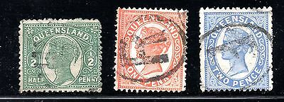 Queensland #103-105 used