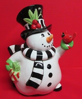 Fitz and Floyd Frosty's Frolic Ceramic Snowman Cookie Jar