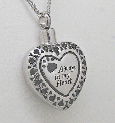 Always In My Heart Paw Cremation Jewelry Paw Urn Necklace Pet Urn Memorial
