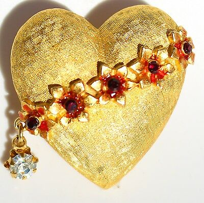 MYLU signed gold tone Heart red flowers   BROOCH