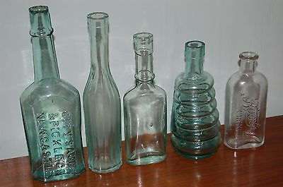 Lot of 5 Vintage Green Glass Medicine Apothecary Condiment Bottles Vases Display