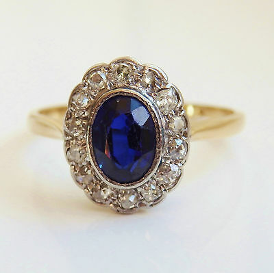 Antique Edwardian 18ct Gold Sapphire & Diamond Cluster Ring c1910; Size 'O 1/2'