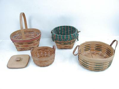 Lot of 4 Longaberger Handwoven Baskets Small Round Shopping Basket w/ Extra Lid