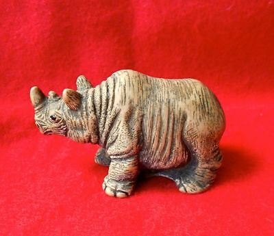 Vintage Cold Cast Marble DETAILED Rhinoceros Figurine