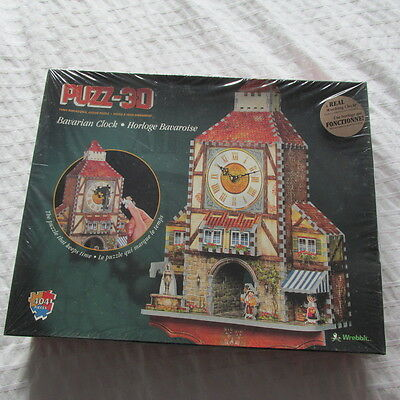 1996 Puzz 3DBavarian ClockWrebbit A Real Working Clock! Game Puzzle New Sealed
