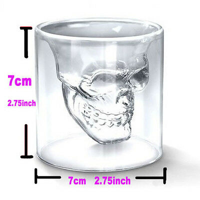 73ml Crystal Skull Head Drinking Ware Whiskey Vodka Shot for Home Bar Glass Cup