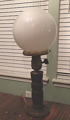 Wired Plugin Antique Wooden Table Lamp W/ Round Milk White Globe