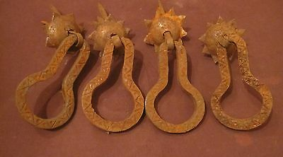 4 large antique 18th century handmade wrought iron drawer pull handles hardware