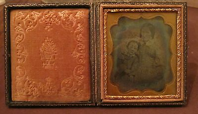 antique pressed 1800 leather ambrotype daguerreotype B&W photograph picture box