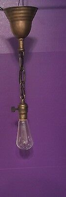 """Vintage All Brass Pendant Light 15"""" Long Industrial Wired Fixture Great! Turnkey"""