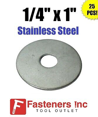 """(Qty 25) 1/4"""" x 1"""" OD Stainless Steel Fender Washers Type 304"""