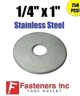 """(Qty 250) 1/4"""" x 1"""" OD Stainless Steel Fender Washers Type 304"""