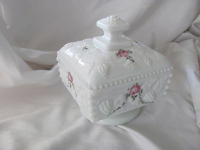 Westmoreland white milk glass grapes candy dish w/ lid hand painted pink roses