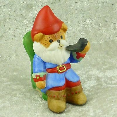Enesco Lucy & Me Teddy Bear Gnome Figurine Sitting on Chair Smoking Pipe 1989