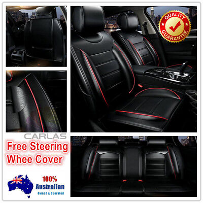 Padded Comfort Black PU Leather Car Seat Covers Toyota Camry Corolla Rav4 Hilux