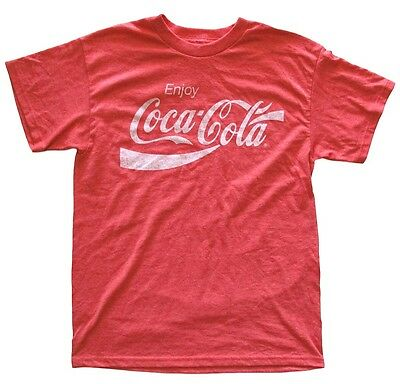 Coca Cola Classic Distressed Logo Red Heather Men's T-Shirt New