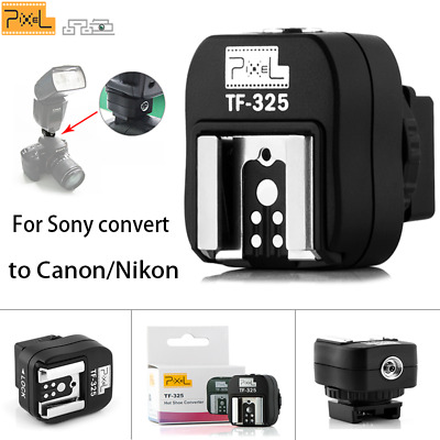 Pixel TF-325 HotShoe Adapter with PC Sync Socket For Sony convert to Canon/Nikon