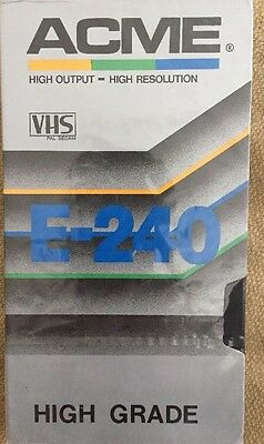 Blank VHS Tape ACME E-240 High Grade Brand New & Sealed Free Shipping