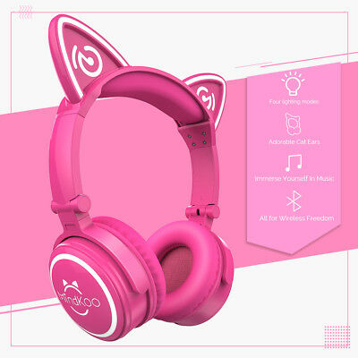 Mindkoo Wireless Bluetooth Cat Ear Headsets Mic AUX Stereo Foldable Headphones