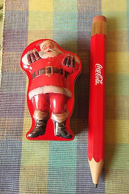 COCA COLA Red Wood Ruler/Pencil & Santa Shaped Tin
