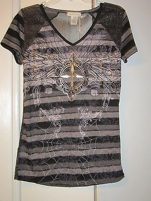 Sinful and sparkly Angels & Diamonds semi-sheer top L *NEW* NWT LOOK AT BACK!!!!