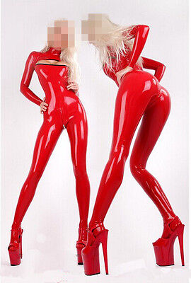 073 100% Latex Rubber Gummi 0.45mm Catsuit Bodysuit Suit Fashion Red