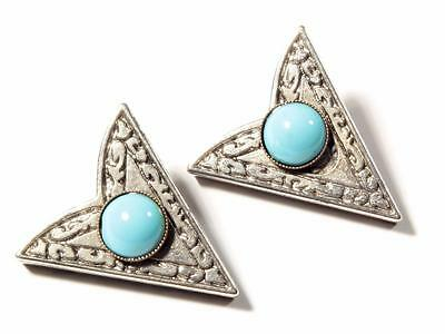 Pair vtg German Bohemian western style silver tone blue stone shirt collar tips