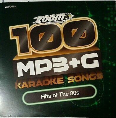 Zoom Karaoke MP3+G Disc - 100 Songs - HITS OF THE 80s  Brand New