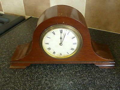 Fine Arch Top Mahogany Mantle Clock With Top Movement Runs But Requires Clean