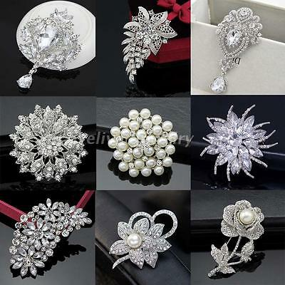 Diamante Rhinestone Crystal Pearl Silver Large Flower Wedding Bridal Brooch Pin