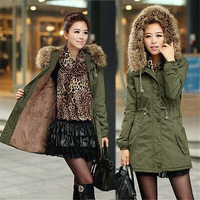 US New Womens Warm Long Coat Fur Hooded Quilted Jacket Slim Winter Parka Outwear