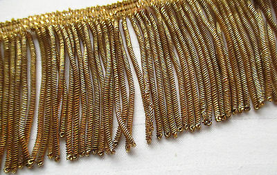 "Vintage Gold Metallic Bullion Fringe Coiled Strands 23"" x 2 3/4""  French"