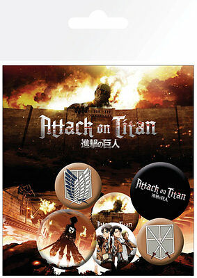Attack on Titan Characters Badge Pack / Pin Set BRAND NEW