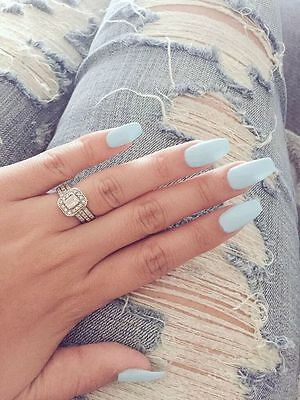 Hand painted baby blue coffin false nails small medium large 12