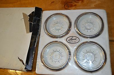 Set of 4 LEONARD Silver-Plate Glass Coasters from ITALY in original box-vintage