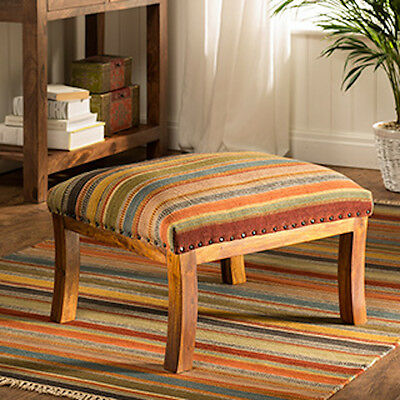 LARGE WOOD OOTY MULTI COLOUR KILIM UPHOLSTERED SEAT FOOT STOOL 48 x 58 x 38cm