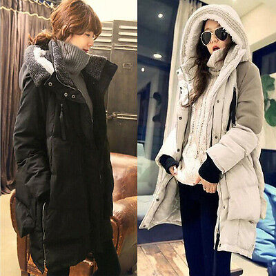 Ladies Hooded Parka Padded Coat Womens Winter Long Jacket Top Size S-Xxl New