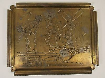Vintage DUTCH COUPLE Windmill Hand Hammered Arts & Crafts Mission Brass Tray