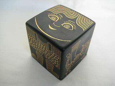 Mid Century PURBECK Pottery Cube Money Box Paperweight