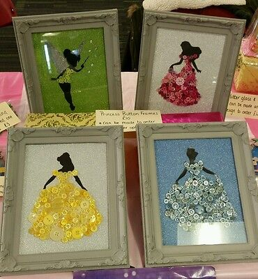Princess themed button art frame handmade Christmas gift