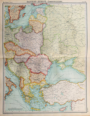 1922 Large Vintage Times Map - Eastern Europe Communications Trade Routes