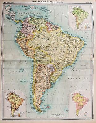 1922 Large Vintage Times Map - South America Countries, Political
