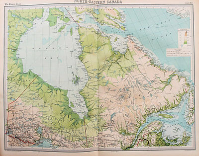 1922 Large Vintage Times Map - North Eastern Canada, Hudson Bay, Quebec, Ontario